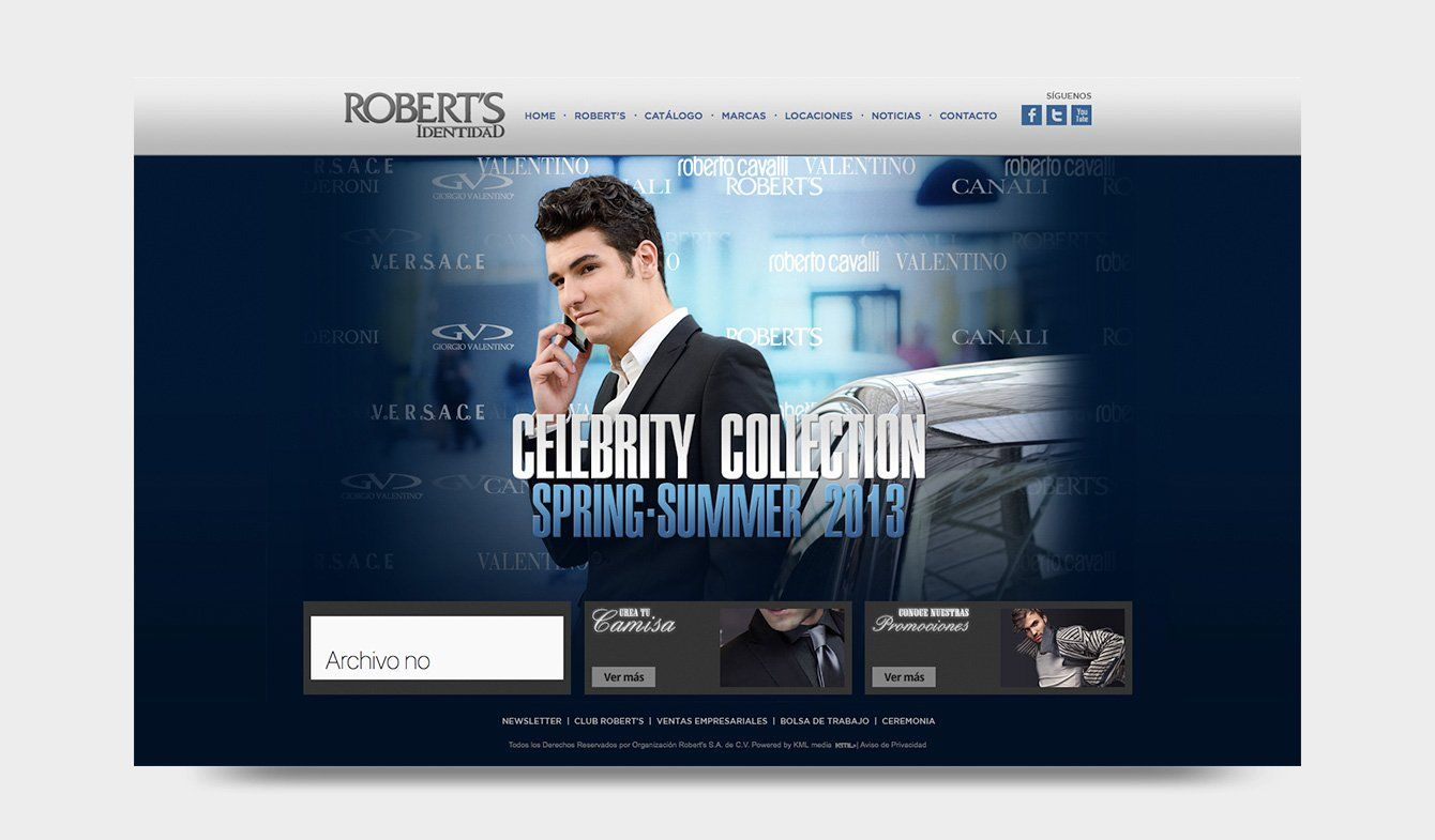 Sitio Web Robert's Identidad Celebrity Collection, 2013