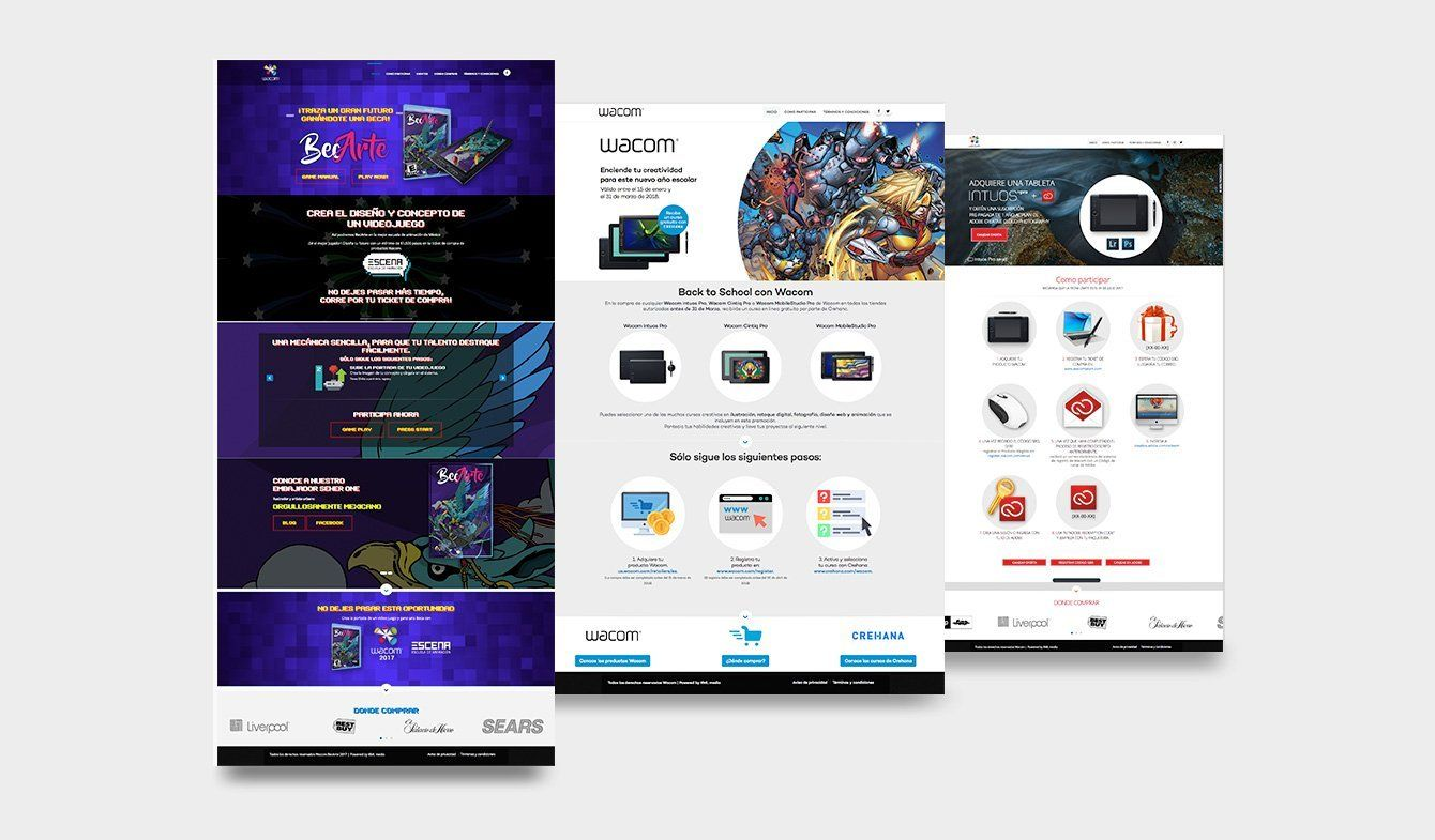 Wacom, Landing Pages para distintos eventos y promociones, Becarte, Back To School y Gana con Wacom y Adobe
