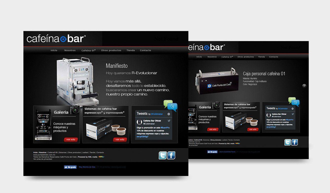 Sitio web Cafeína Bar, 2011