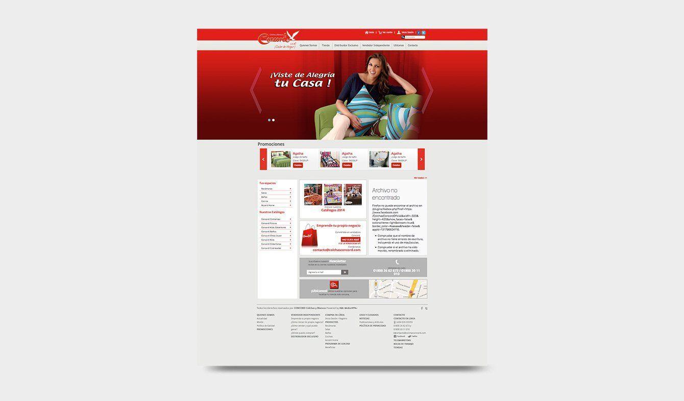 Diseño para sitio web y tienda en línea de Colchas Concord, 2012