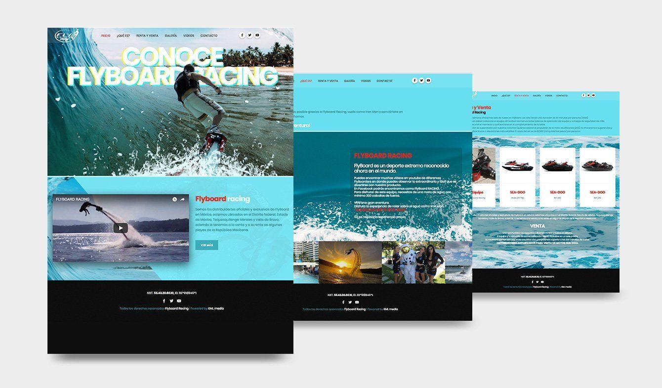 Propuesta para renovación de sitio web Flyboard Racing, 2018, no publicada