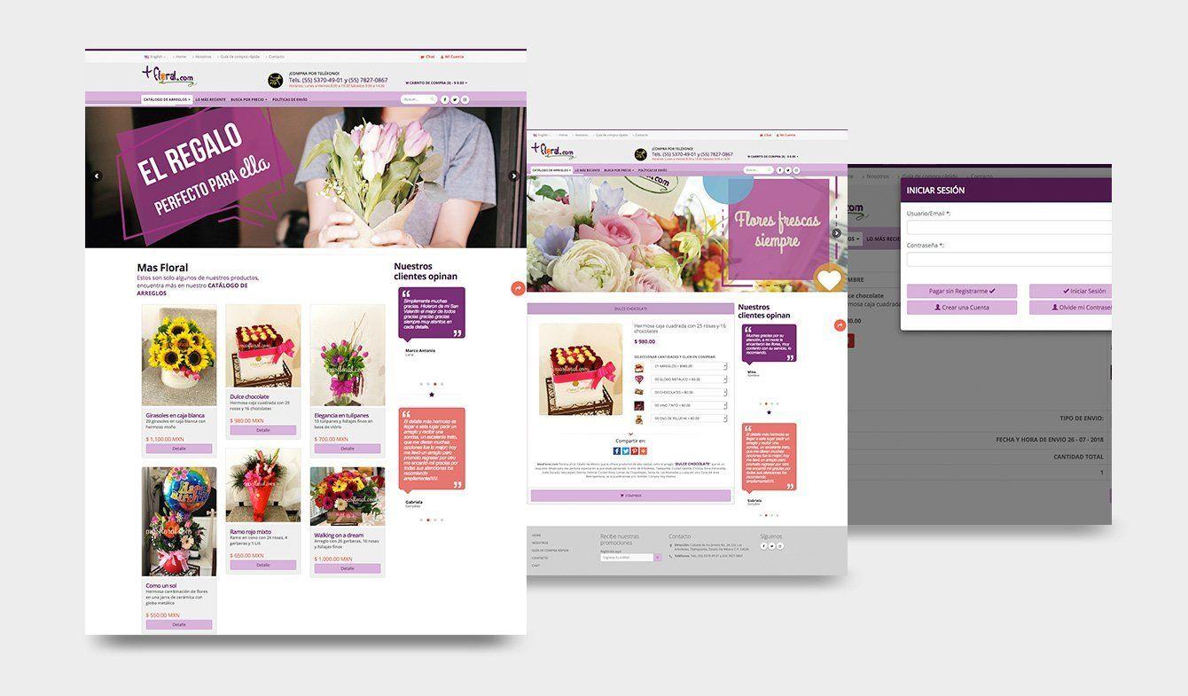 Diseño para eCommerce, Florería MasFloral, 2017