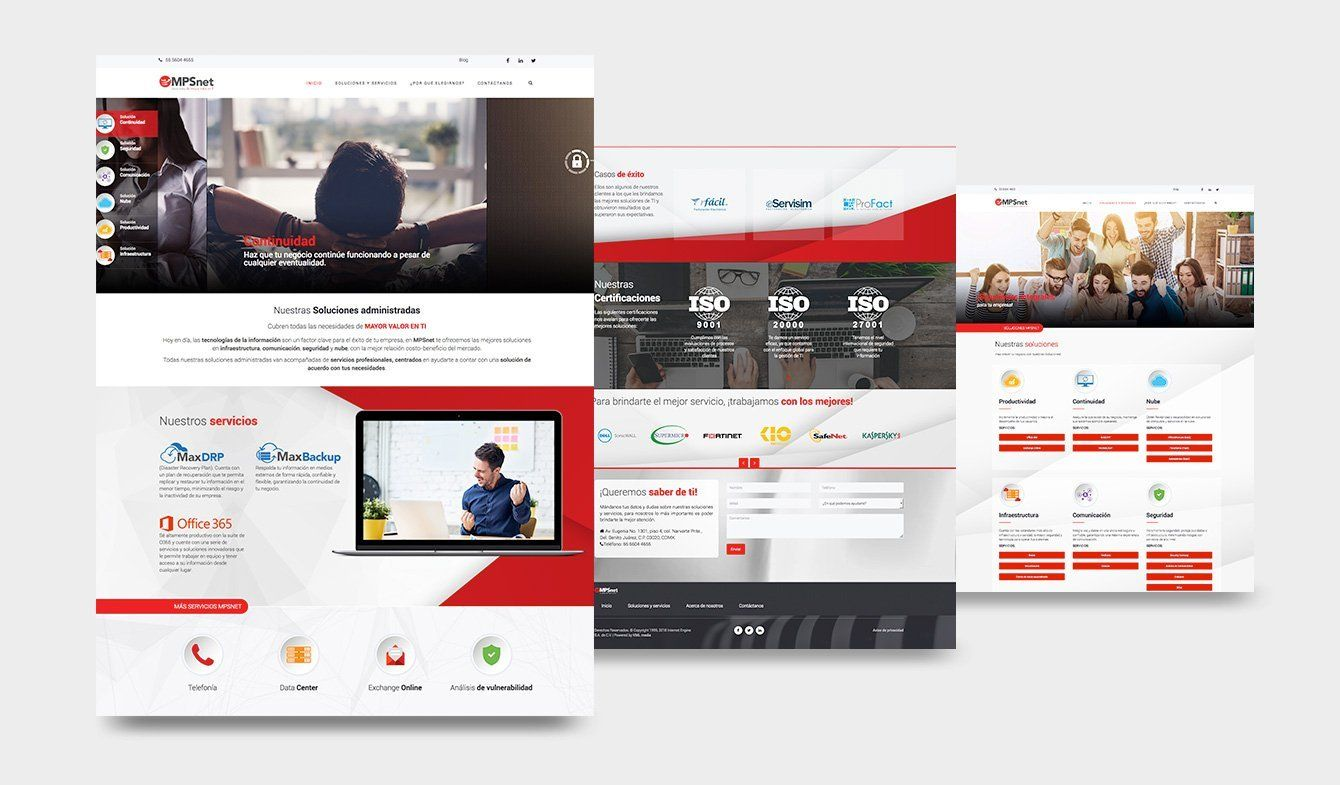 Diseño sitio web, MPSnet, 2018, Wordpress