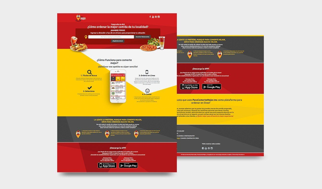 Landing Page sistema app Para Comerte Mejor, 2017