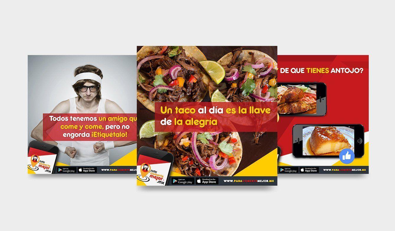 Diseño para publicaciones de Facebook aplicación Para comerte mejor, 2017, 2018