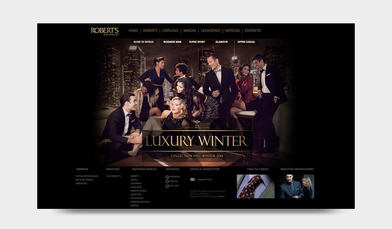 Sitio Web Robert's Identidad Luxury Winter, 2014