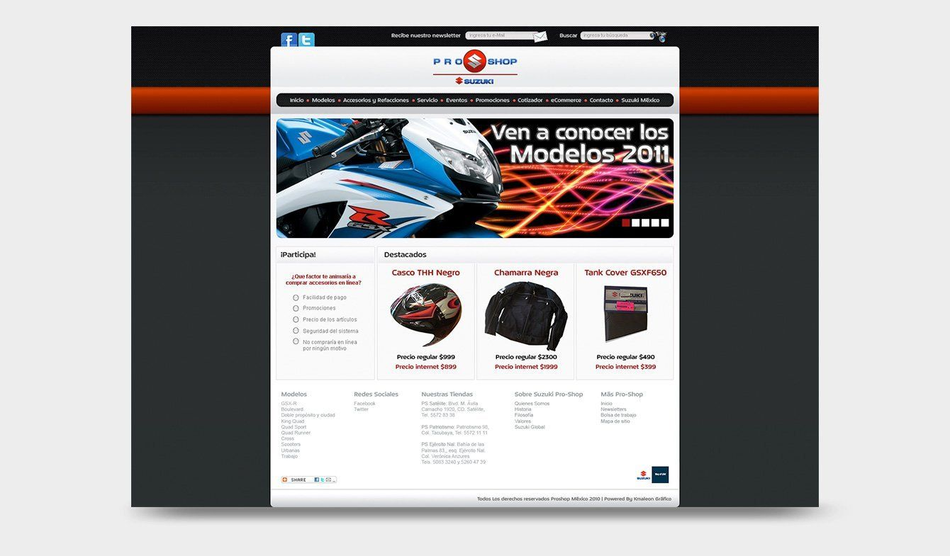 Sitio Web Suzuki Pro-Shop, 2011