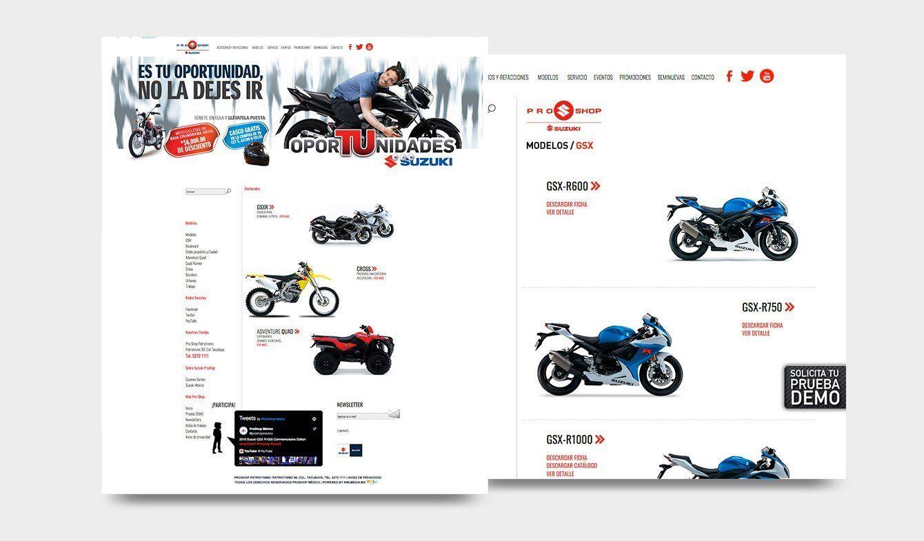 Sitio Web Suzuki Pro-Shop, 2013