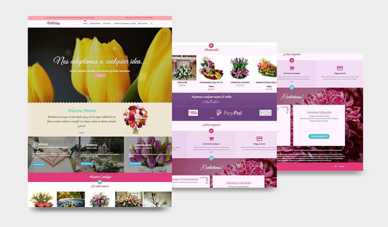 Diseño eCommerce Florería Sydney, 2018