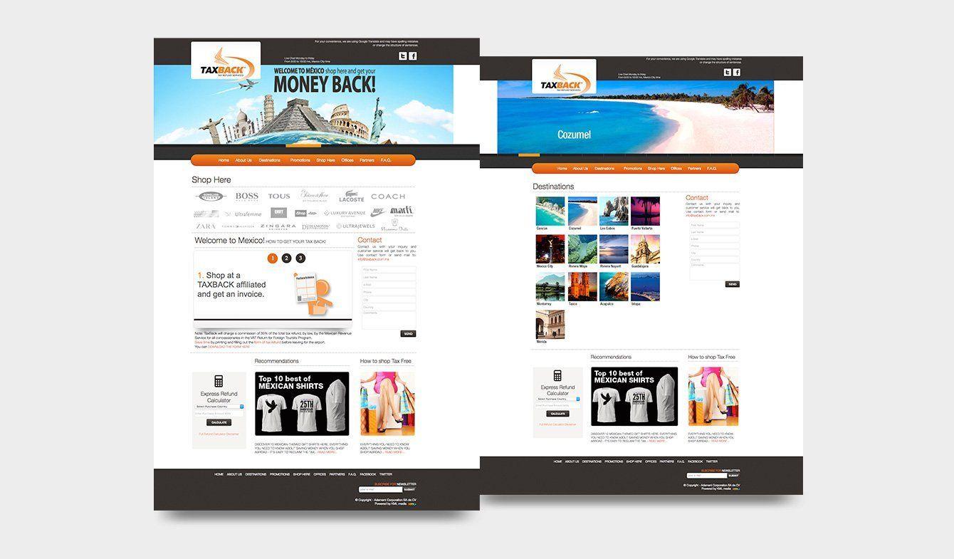 Diseño sitio web para TaxBack, 2015