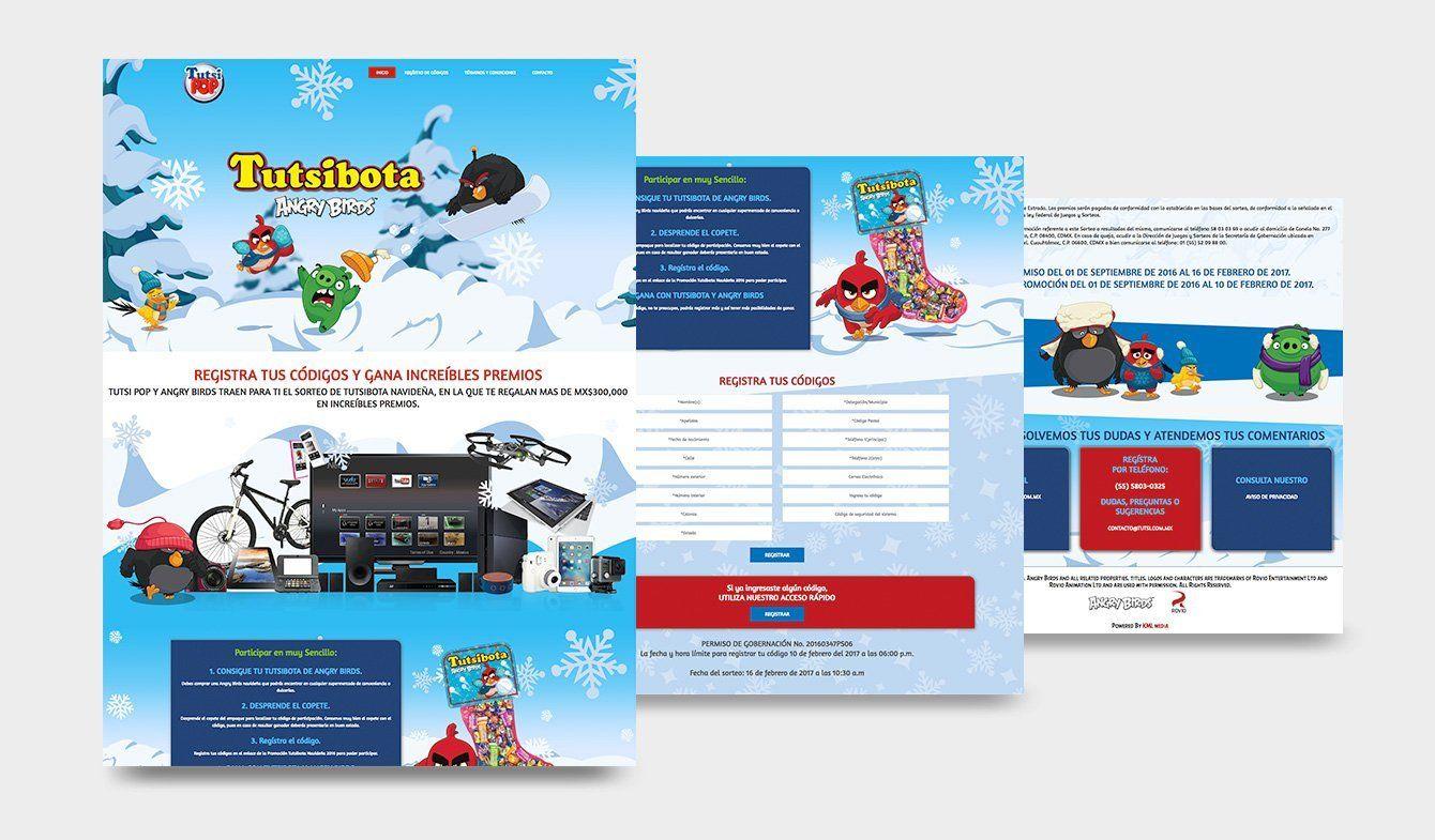 Landing page para registro de códigos Copetes Tutsibota Angry Birds 2016