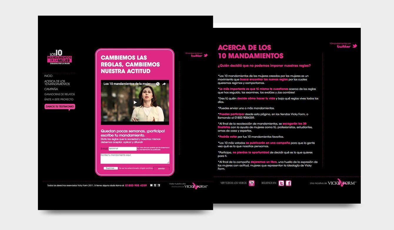 Sitio Campaña 10 mandamientos de la Mujer por Vicky Form